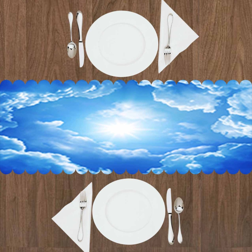 Else Blue White Sun Shining Clouds Nature 3d Print Pattern Modern Table Runner For Kitchen Dining Room Tablecloth