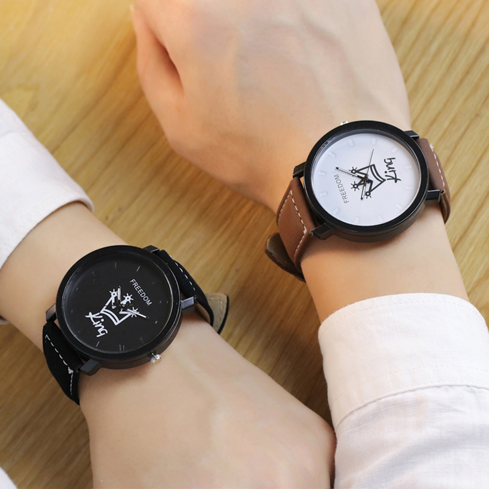Newest Couple Queen King Crown Fuax Leather Quartz Analog Wrist Watch Chronograph 2017 Val