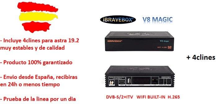 Récepteur SATELITE IBRAVEBOX V8 MAGIC avec WIFI intégré 7 CLINES un an V8 NOVA gratuit avec mémoire 2 go durs pour plus de stabilité