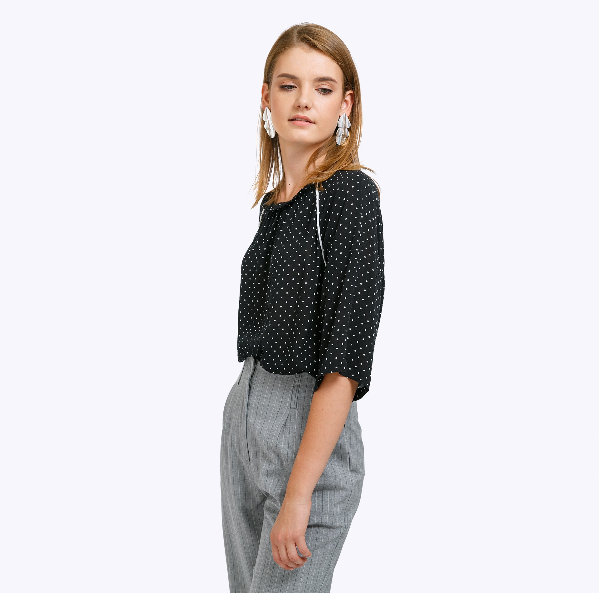 Blouse B2304/cute ruffle trim tie neck chiffon blouse