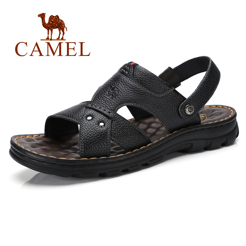 Summer New Genuine Leather Sandals Men Shoes Business Casual slippers Couhide Natural Leather Beach sandalias hombre