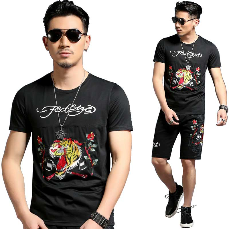 Été 2 pièces ensemble t-shirt court ensemble hommes ensembles courts survêtement de haute qualité tigre broderie vêtements pour hommes ensemble survêtement