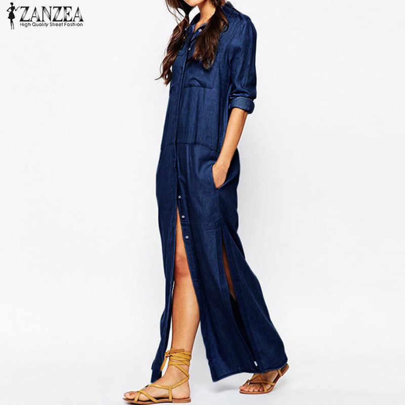 Plus Size ZANZEA Fashion Women Denim Blue Turn-down Collar Maxi Long Shirt Dress Casual Full Sleeve Loose Split Vestido 2020
