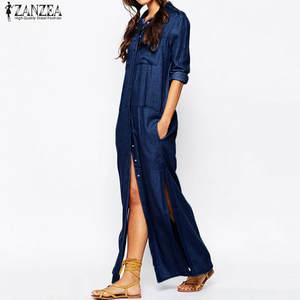 dcf094f57c Plus Size ZANZEA Women Maxi Long Shirt Dress Casual 2018