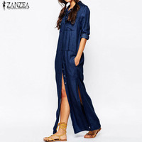 Plus Size ZANZEA Fashion Women Denim Blue Turn Down Collar Maxi Long Shirt Dress Casual Full