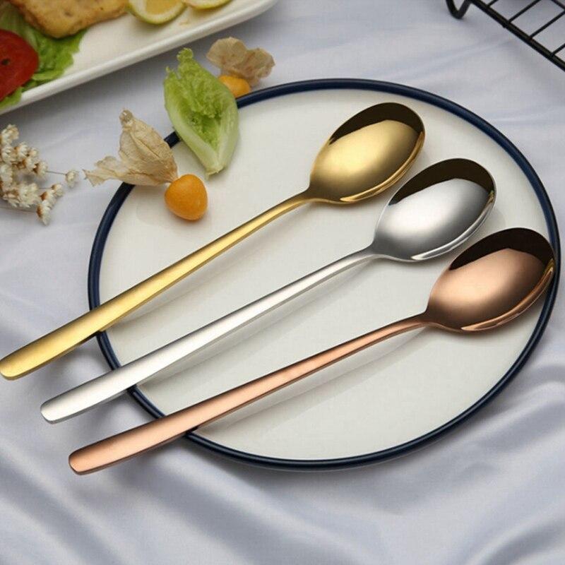1 шт. из нержавеющей стали Titanium позолота цвета розового золота длинной ручкой суп Чай Кофе десертная ложка посуда падения Торговый