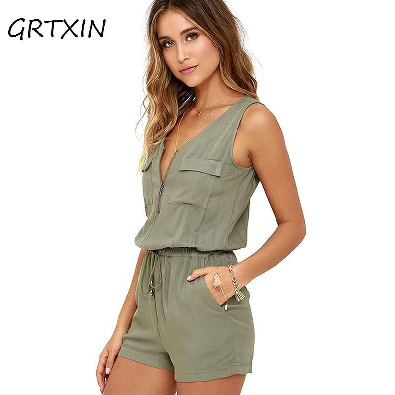 Sexy Sleeveless Bodysuit V-neck Zipper Pockets Playsuit Shorts Romper Summer Fashion Beach Overalls Femme Frock Women Jumpsuit