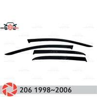 Fenster deflektor für Peugeot 206 1998-2006 regen deflektor schmutz schutz auto styling dekoration zubehör molding