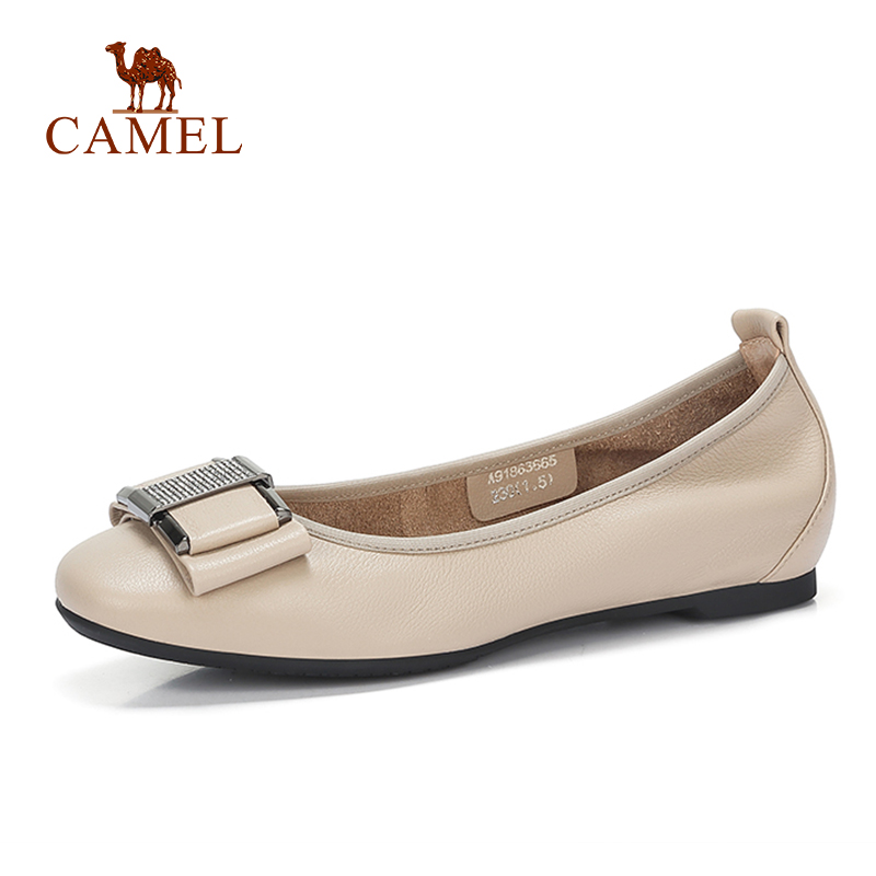 CAMEL New Women Casual Low Heel Single Shoes For Ladies Leather Low Pumps Fashion Simple Comfort