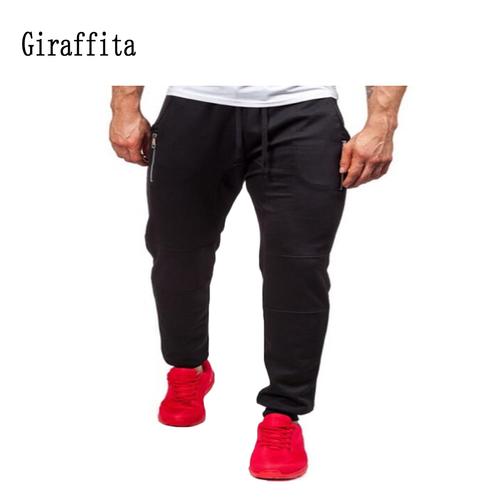 Man Sport Fitness Pants Solid Trousers Lacing Black/Gray Jogger Pants Male Compression Pant Tactical Men