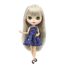 ICY factory blyth doll grey straight hair joint body bjd shiny face 1/6 toy 30cm