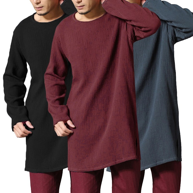 26cd9381 INCERUN Cotton Linen Men's T Shirt Extra Long Loose Comfortable Full Long  Sleeve Tee Tops Male Plus Size Men Street Wear Tops-in T-Shirts from Men's  ...