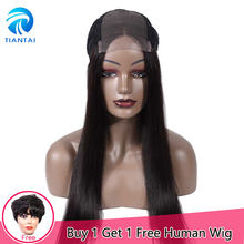 Brazilian 4x4 Lace Frontal Human Hair Wigs Straight Hair Long Wigs Remy Middel Part Lace Wigs for Woman Pre Plucked 10- 24 inch(China)