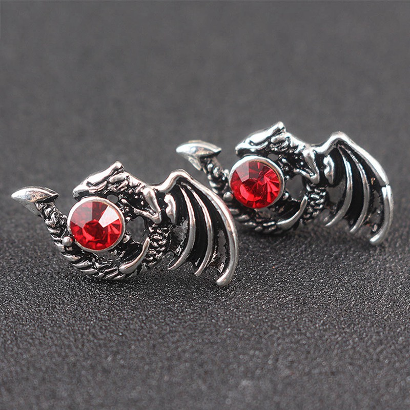 US $1.04 21% OFF|2018 new fashion Dragon Stud Earrings alloy Punk Earrings  for Men Garnet Stone Men Jewelry-in Stud Earrings from Jewelry & ...