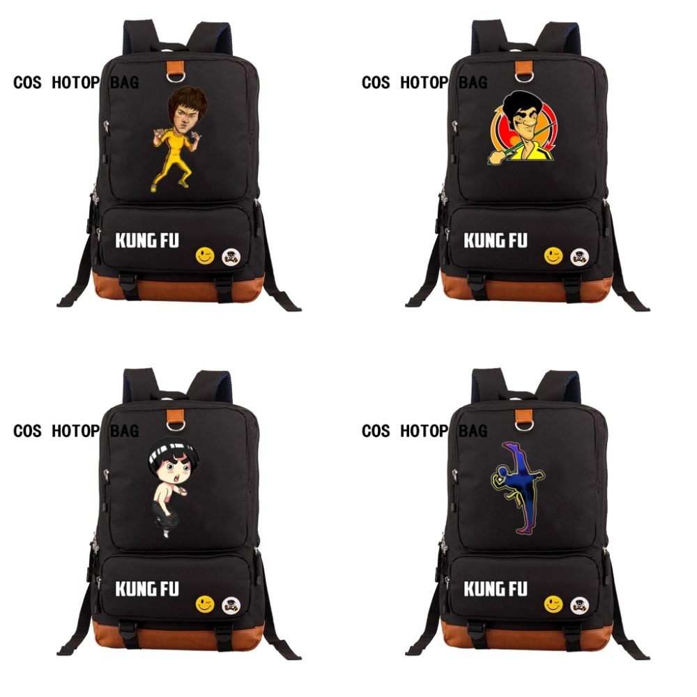 2af768036d Chinese Bruce Lee Kung Fu Backpack kids boys girls school bag student book  bag teenagers Men women s travel Laptop Bag 6 style-in Backpacks from  Luggage ...