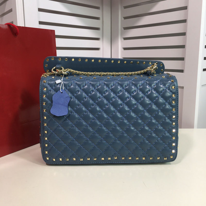 Fashion famous new Genuine leather woman handbag high quality rivets chain lady shoulder bag luxury famous brand purse-in Shoulder Bags from Luggage & Bags    3