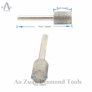 Image 4 - 12 40 ミリメートルグリット 80 ラフダイヤモンドコーティングシリンダーヘッド研削ビットロータリーツールバリポイント宝石細工用の彫刻ツールのための石の作業