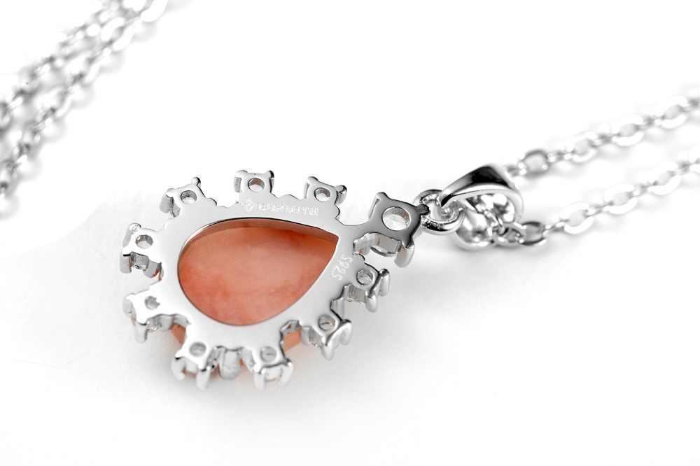 Dormith của Phụ Nữ 925 sterling bạc 2.05 Carat Giấc Mơ Màu Hồng Tự Nhiên Opal nước-thả mặt dây chuyền vòng cổ cho phụ nữ đồ trang sức