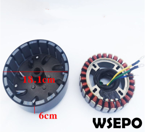 5000 Watt 27 Pole Voltage Customized(48V/60V/72V) Stator and Rotor Kit for DC Generator fits on 19mm tapered 41mm output shaft