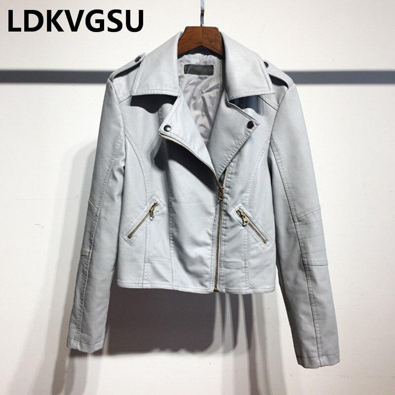 Leather   Jacket Women 2018 Spring Autumn Fashion Lapel Collar Short   Leather   Jacket Coat Female Plus Size 5 Colors Is302