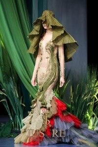Image 5 - JUSERE vestido verde de sirena para graduación, Apliques de encaje, bordado de flores, largo, 2019