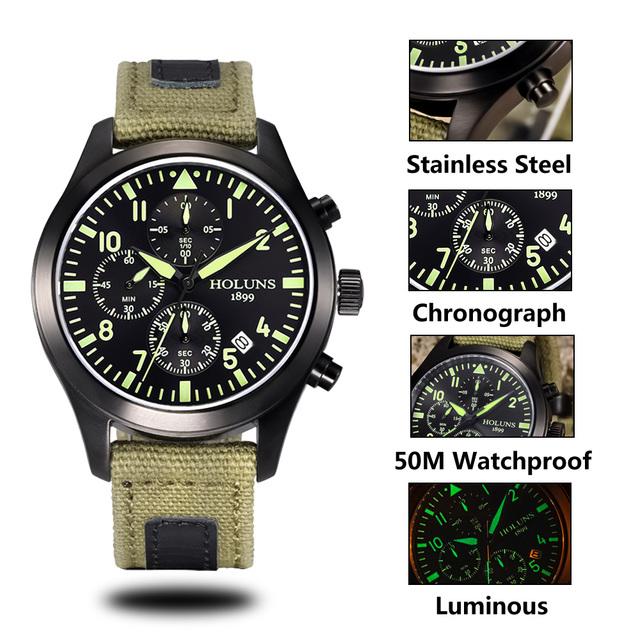 Original HOLUNS man brand Watch multifunctional sports male chronograph  fashion business luminous luxury denim military watches