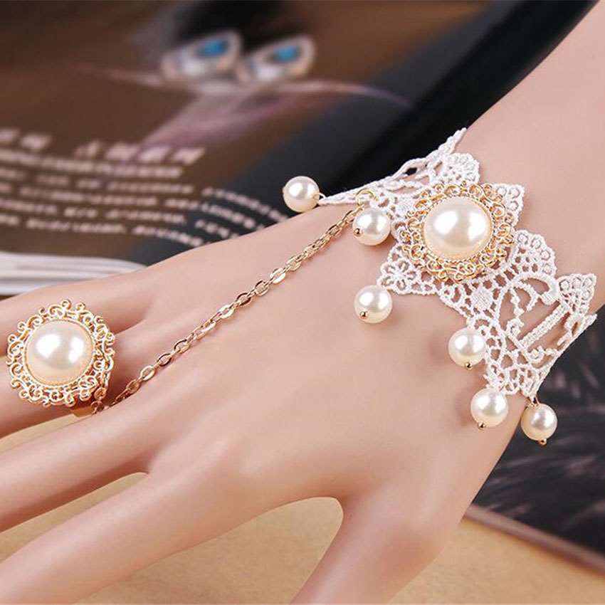 MHS.SUN Palace Vintage bridal Bracelets Pearls Bangles For Wedding Jewelry Bridal lace Bracelet Hand Chain Party Gift  FY013