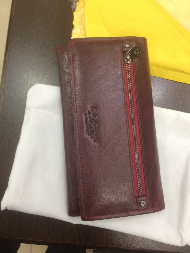 Contact's Brand Design Coin Purse Genuine Leather Women Wallets Female Card Holder Long Lady Clutch Wallet With Phone Pockets photo review