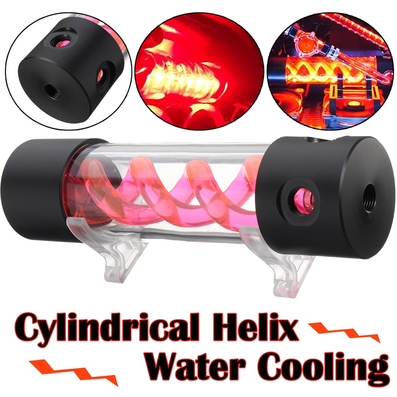 Cylinder T-Virus Reservoir Helix Suspension Water Tank G1/4 Liquid Cooling 200mm New Computer Water cooling Parts For CPU cpu cooling conductonaut 1g second liquid metal grease gpu coling reduce the temperature by 20 degrees centigrade