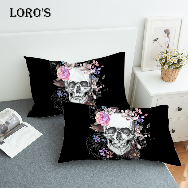 Chic Sugar Skull Floral Pillow Case White Couple Lovers Gift Pillow Throw Pillowcases Home Beddroom Two Pair Pillows Bedding Set|Pillow Case| |  - title=