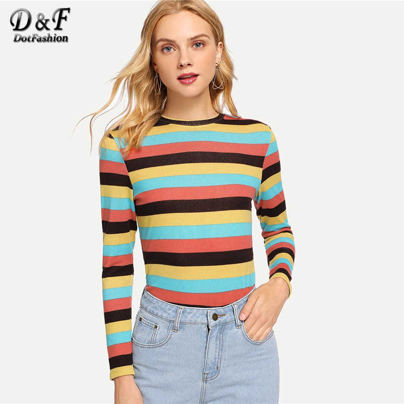 bef5cdd19a Dotfashion Multicolor Ribbed Knit Striped Tee Women Casual Summer Round  Neck Long Sleeve Tops Clothing Female