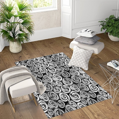 Else Black Gray Roses Floral Geometric 3d Pattern Print Non Slip Microfiber Living Room Decorative Modern Washable Area Rug Mat