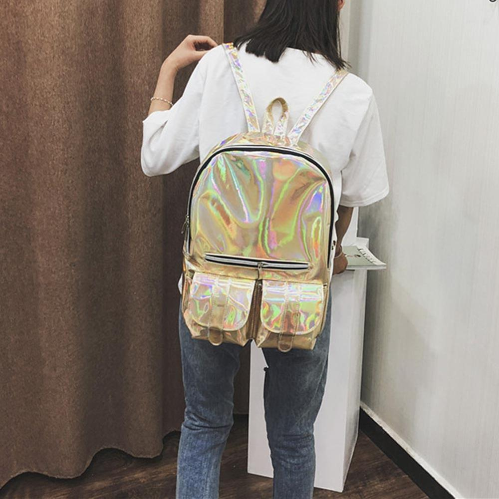 Women Laser Holographic Backpacks College Style Shiny Leather Backpacks Teen Girls PVC Large Capacity Rucksack Mochilas femenina Рюкзак