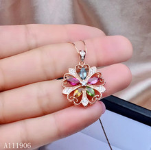 KJJEAXCMYY boutique jewelry 925 sterling silver inlaid natural tourmaline gemstone female necklace pendant support new products natural multicolor tourmaline pendant s925 silver natural gemstone pendant necklace trendy round fireball women party jewelry