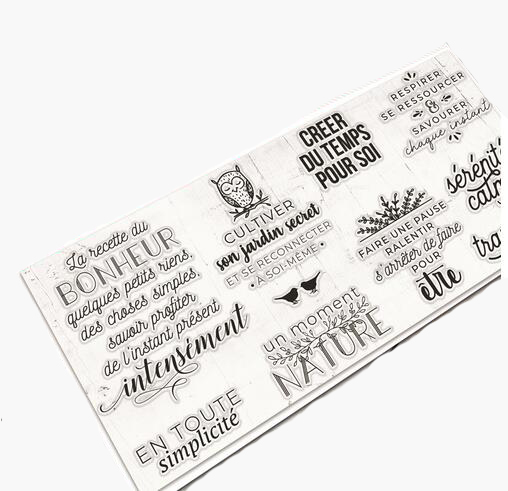 Mots fran/çais Transparent Clear Silicone Stamp//Seal pour scrapbooking DIY//album photo Feuilles de timbre clair d/écoratif M1230