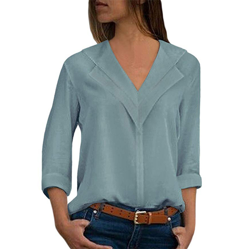 White Blouse Long Sleeve Leisure Blouse Double V neck Women Tops and Blouses Solid Office Shirt