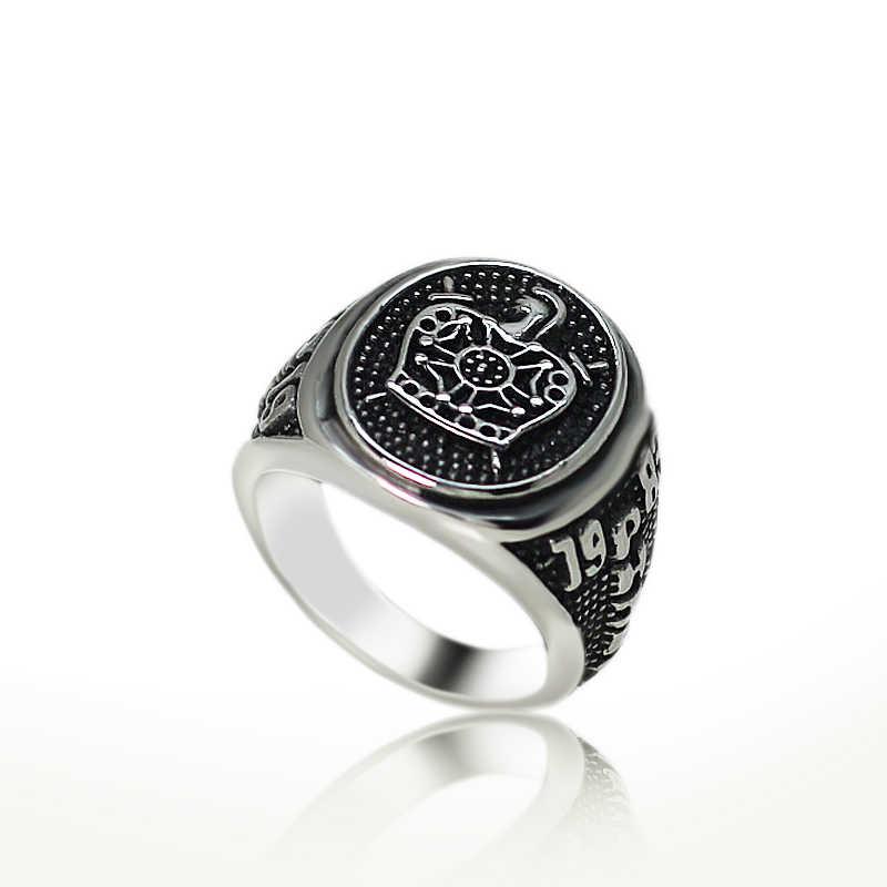 Nova chegada cavaleiros templar coroa demolay anel para homens mulheres inoxidável vintage cor preta escultura punk festa mason jóias presente