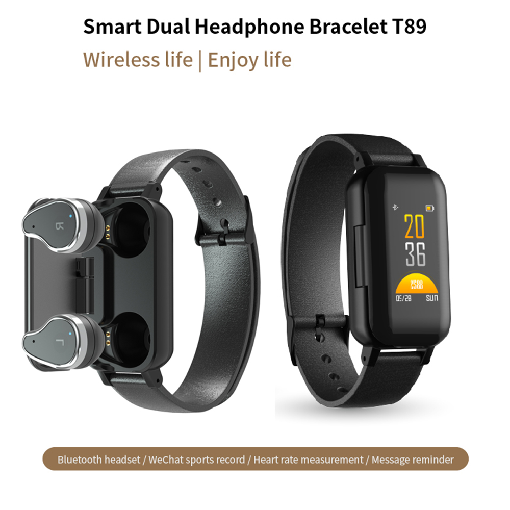 T89New TWS intelligent Binaural Bluetooth casque Fitness Bracelet moniteur de fréquence cardiaque intelligent Bracelet Sport montre
