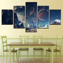 HD Printed Poster 5 Pieces Night View Starry Sky Iceberg Abstract Landscape Painting Home Decor Canvas Wall Art Frame