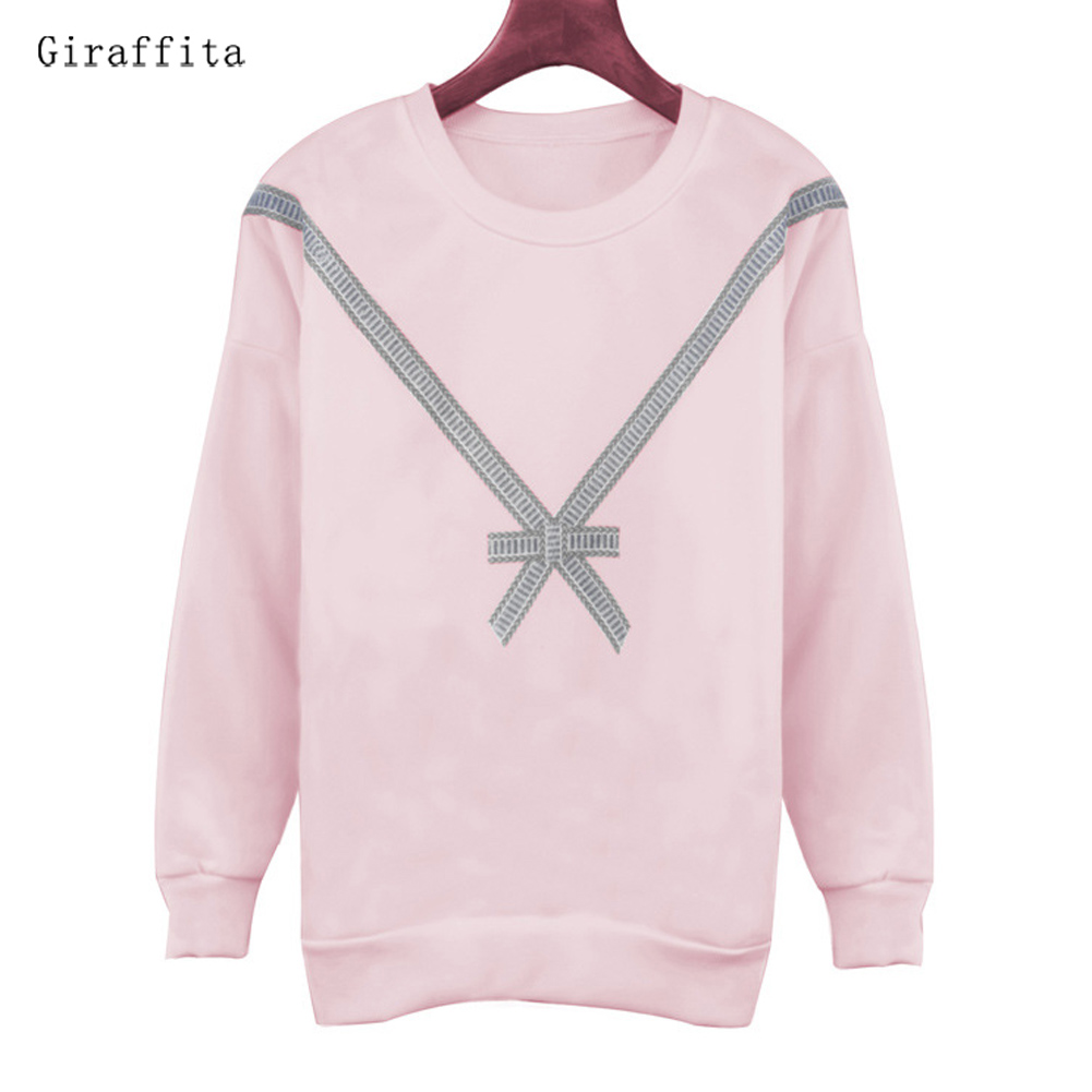 Cute Women Hoodies Pullover 3 Colors 2017 Autumn Loose Fleece Thick Knit Sweatshirt Female With Bownot