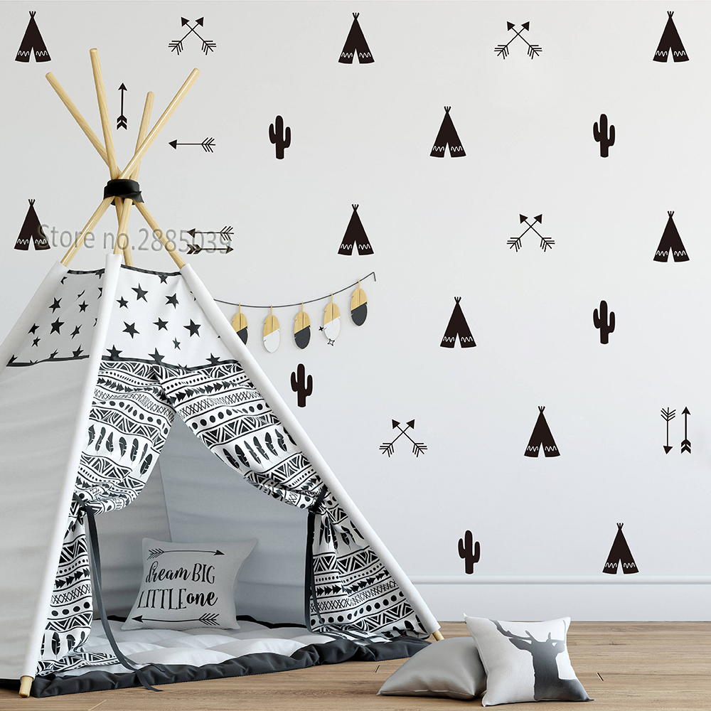 new concept f41ea 4c015 US $10.83 26% OFF|46pcs/set Teepee Tent Arrow DIY Decals Strong Self  adhesive Wall Sticker For Kids Baby Nursery Wall Decor Stickers Vinyl  JW590-in ...