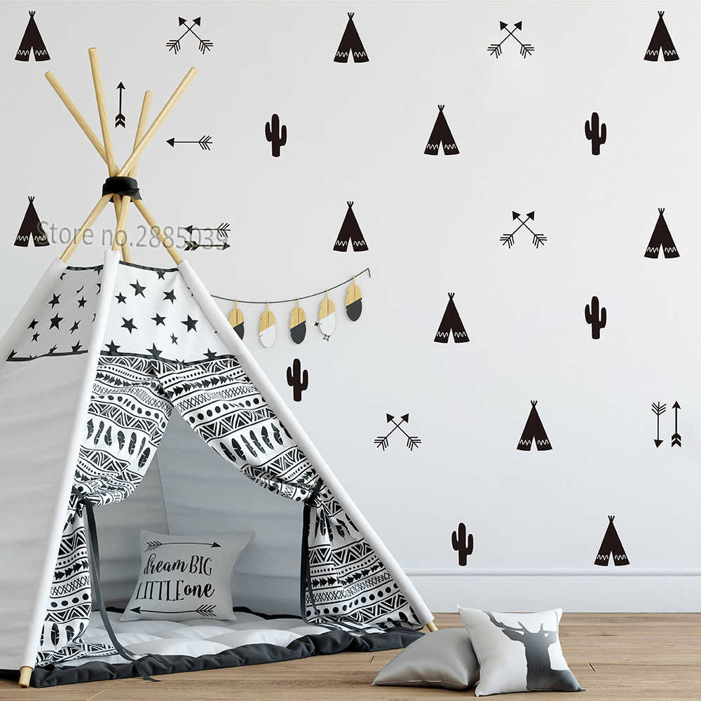 Big W Stickers 46pcs Set Teepee Tent Arrow Diy Decals Strong Self Adhesive Wall Sticker For Kids Baby Nursery Wall Decor Stickers Vinyl Jw590