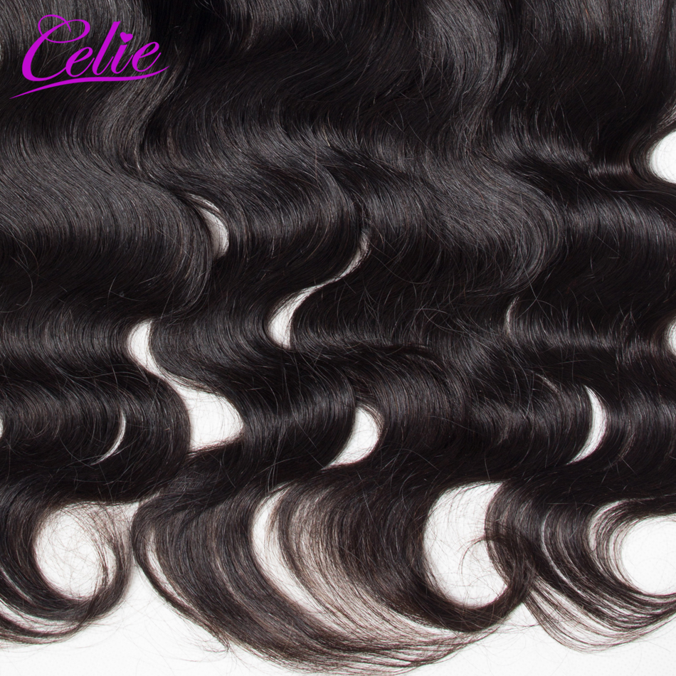 Celie Brazilian Body Wave HD Transparent Lace Frontal Closure With Baby Hair Ear to Ear Human Hair Swiss Lace Frontal Closure