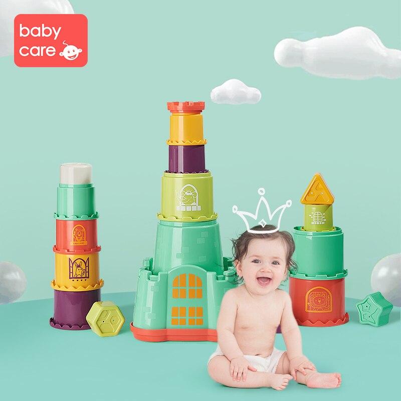 Babycare Mini maison pile tasse multifonction éducatif bébé jouets arc-en-ciel couleur Figures pliant tour drôle Piles tasse imbriquée jouet