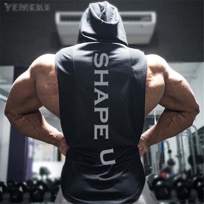 YEMEKE 2018 Brand mens sleeveless Hooded vest Summer men   Tank     Tops   Clothing Bodybuilding Undershirt Casual Fitness tanktops tee