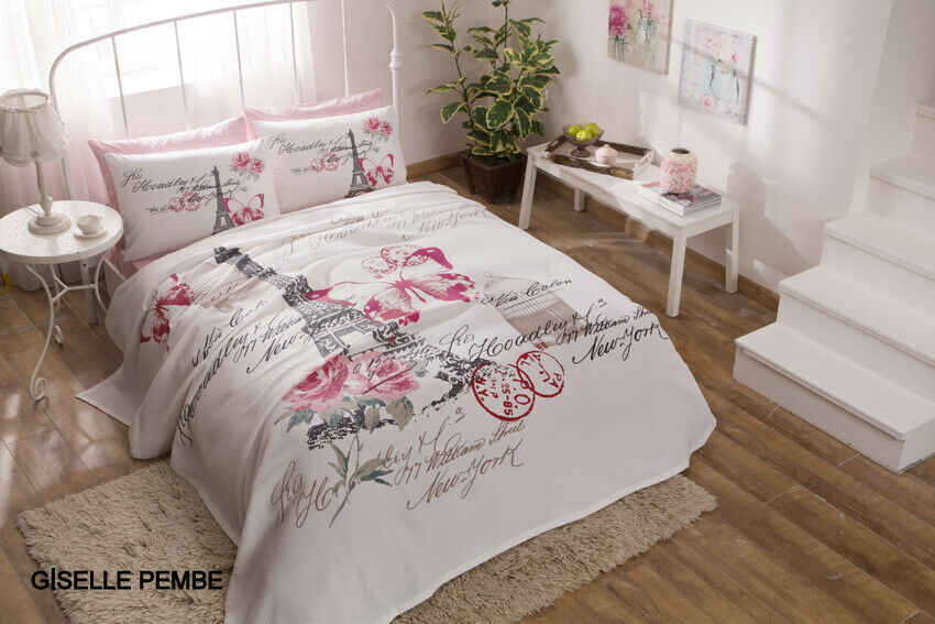 Doublequeen Paris Pink 100 Cotton Bedding Quilted