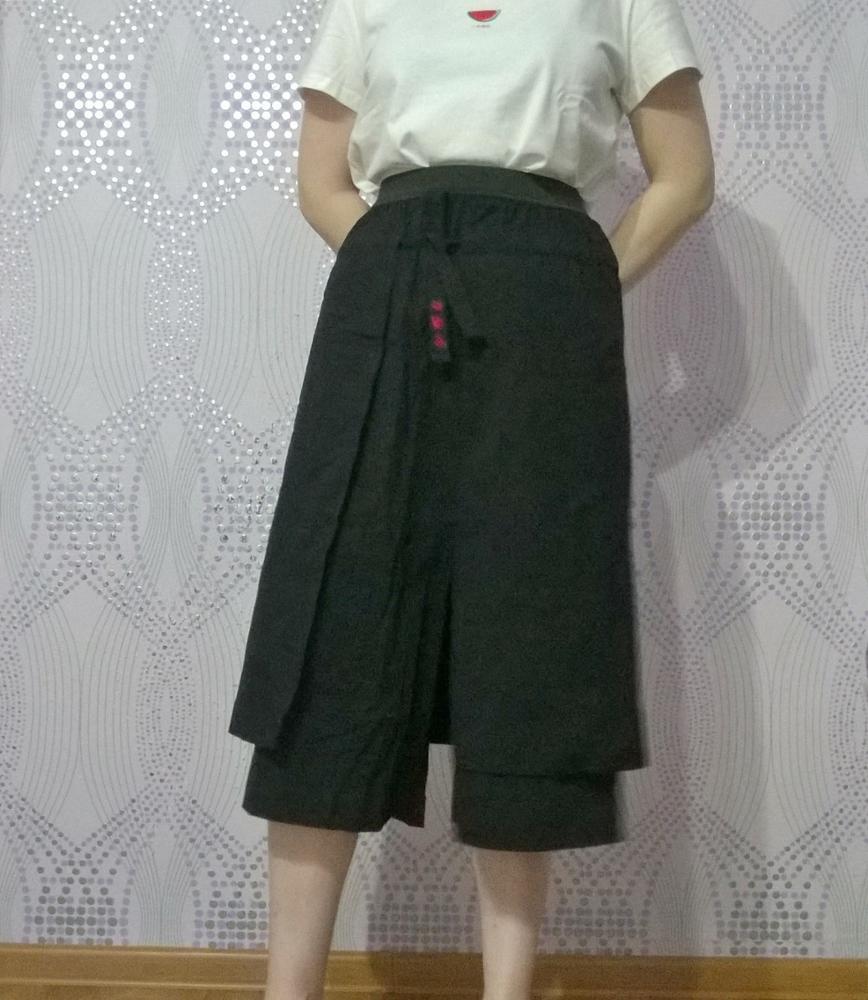 Toyouth Plus Size Women Summer Elastic Waist Elastic Waist Wide Leg Trousers Streetwear Solid Color Female Harem Skirt Pants photo review