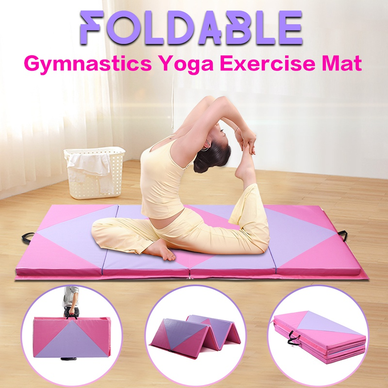 SGODDE New Thick Non-slip Sponge Gym Folding Panel Yoga Exercise Tumbling Pad Gymnastics Mat 240x120x5cm/300x120x5cm With Strap gymnastics mat thick four folding panel fitness exercise 2 4mx1 2mx3cm