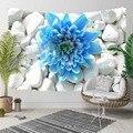 Еще серые  белые камушки  камни на синих больших цветах  3D принт  декоративные хиппи  богемный настенный гобелен с пейзажем  настенная живопи...