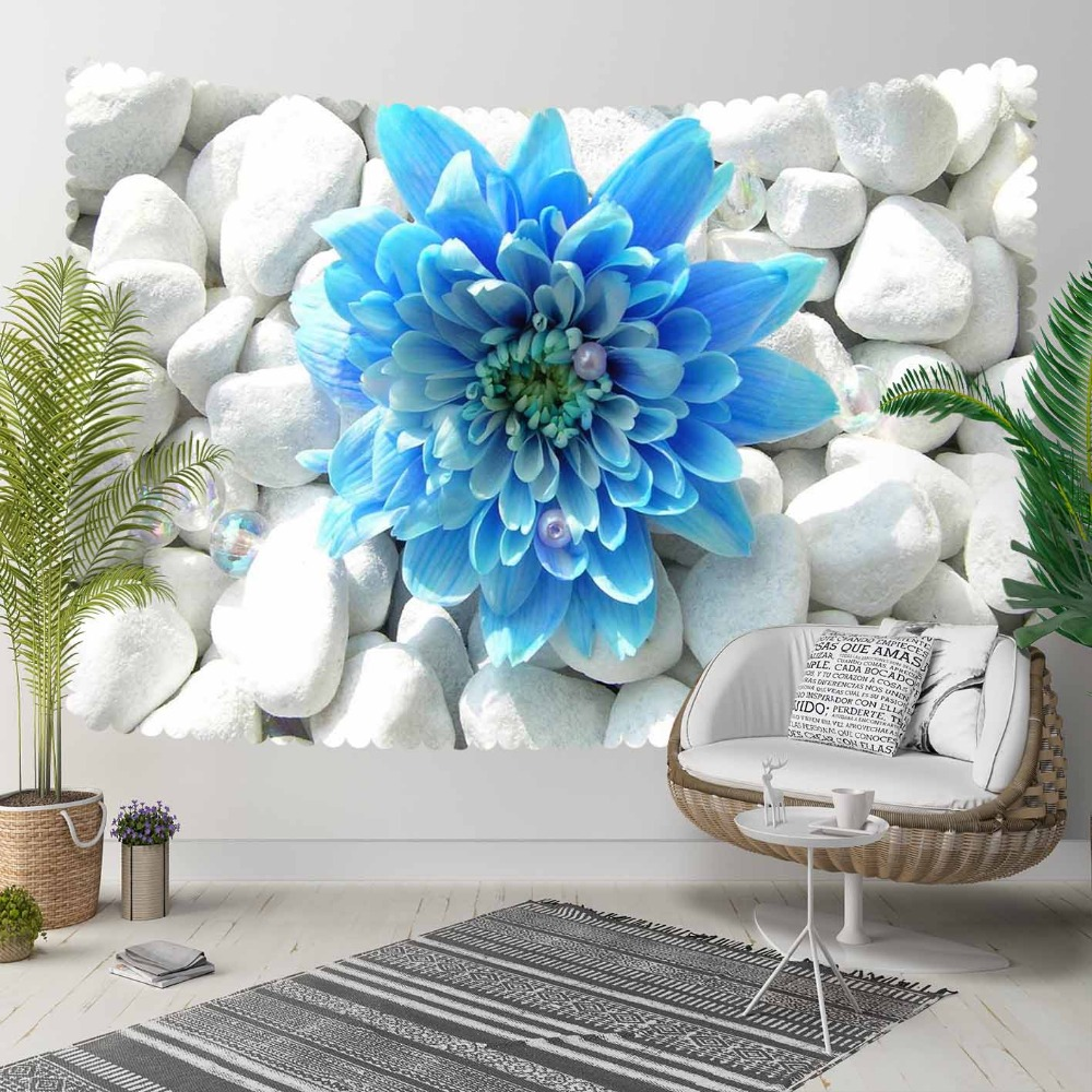 Else Gray White Pebble Stones On Blue Big Flowers 3D Print Decorative Hippi Bohemian Wall Hanging Landscape Tapestry Wall Art